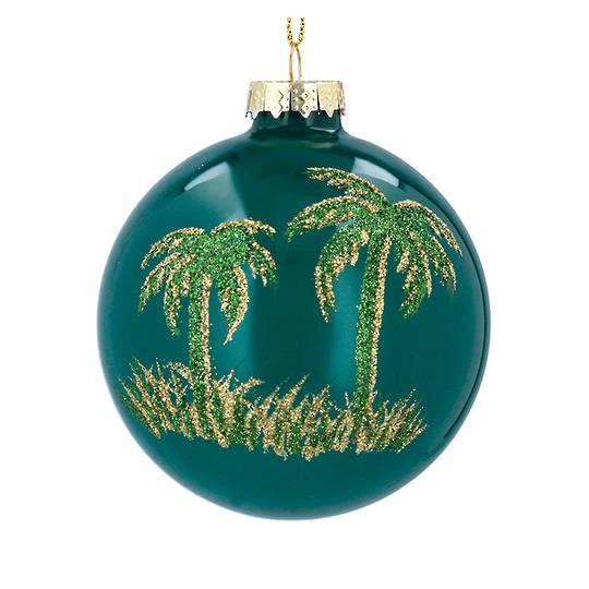 Glass Ball Green, Palm Tree 8cm