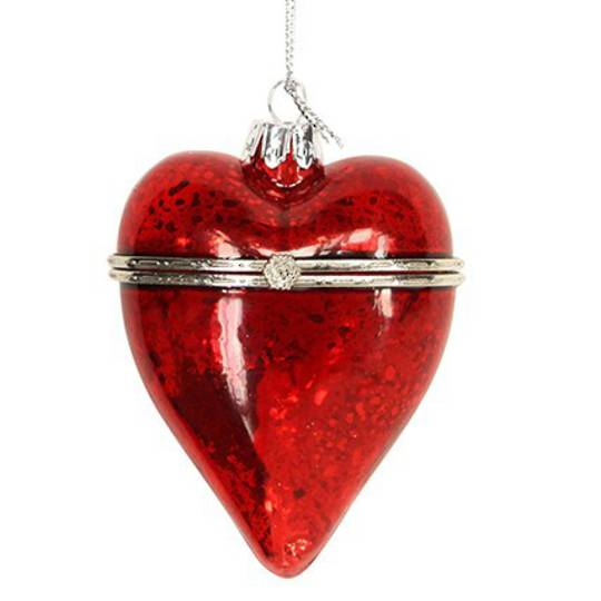 Glass Heart, Red 7cm