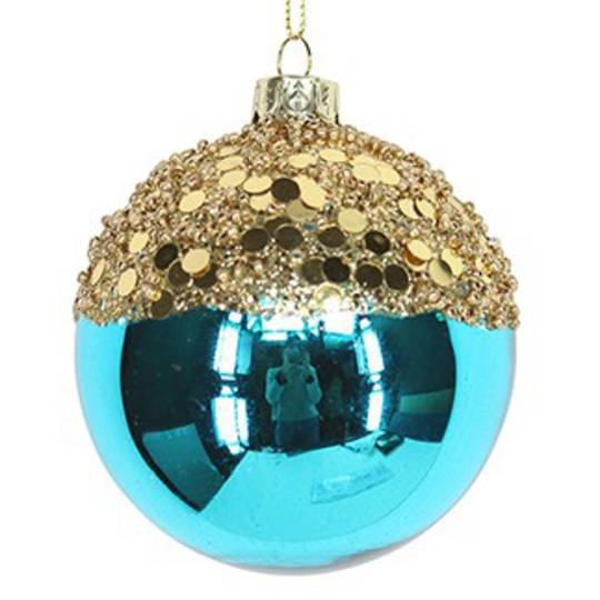Glass Ball Turquiose, Gold Top 8cm