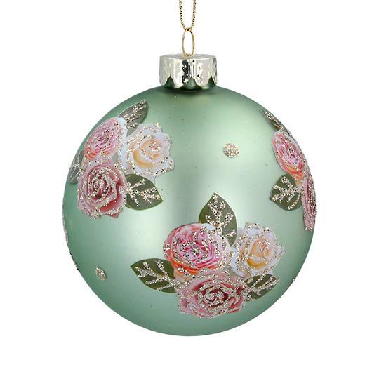 Glass Ball Matt Green, Pink Roses 8cm
