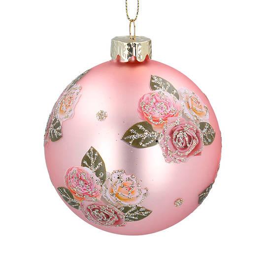 Glass Ball Matt Pink, Pink Roses 8cm