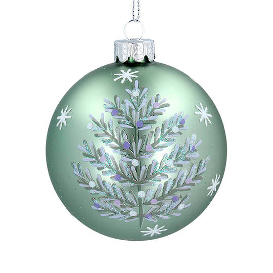 Glass Ball Matt Green, Silver Tree 8cm