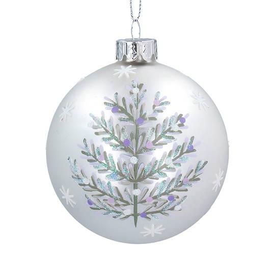 Glass Ball Matt White, Silver Tree 8cm