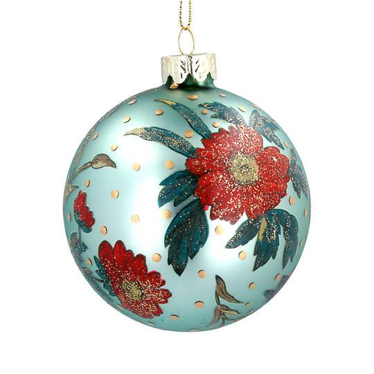 Glass Ball Green, Red Rose 8cm