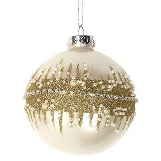 Glass Ball Matt Cream, Gold Glitter 8cm