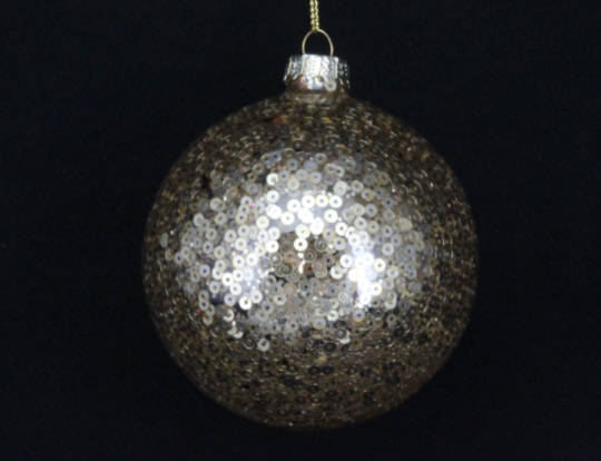 Glass Ball Clear, Gold Sequins 8cm