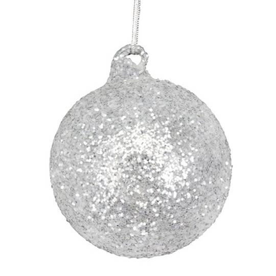Glass Ball Silver, White Glitter 8cm