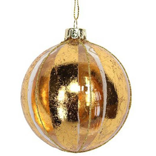 Glass Ball Clear, Thick Gold Stripes 8cm