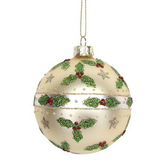 Glass Ball Matt Gold, Holly and Stars 8cm