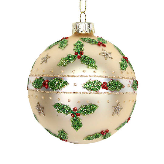 Glass Ball Matt Gold, Holly & Stars 8cm