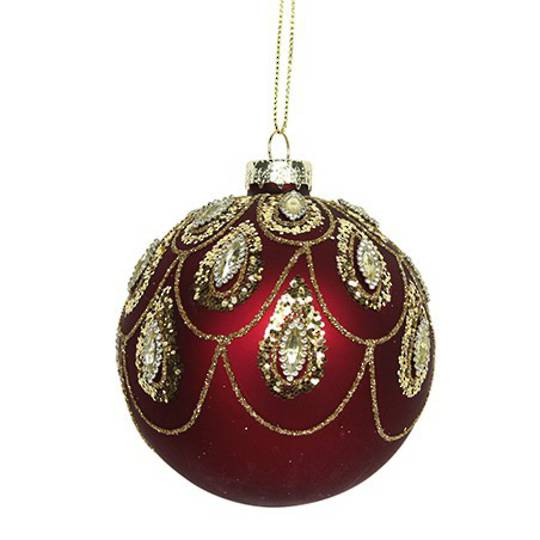 Glass Ball Matt Red, Gold Swags 8cm