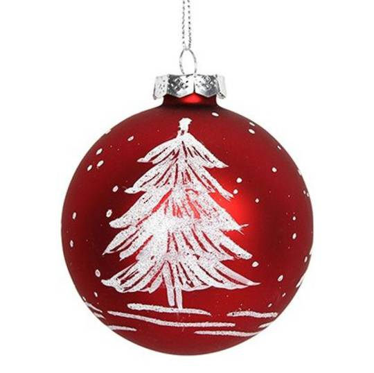 Glass Ball Matt Red, White Tree 8cm