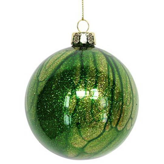 Glass Ball Marbled Green 8cm