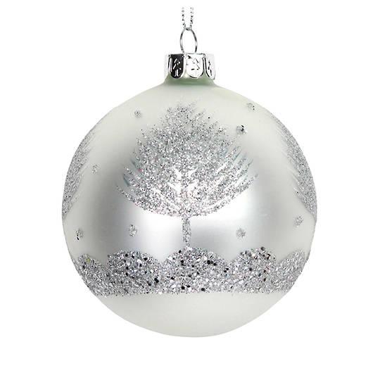 Glass Ball White, Glitter Sliver Tree 8cm