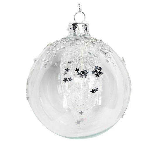 Glass Ball Clear, Mesh Leaf Stars 8cm