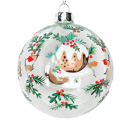 Glass Ball Clear, Xmas Pudding and Holly 8cm