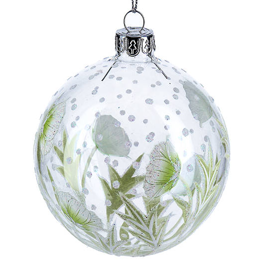 Glass Ball Clear, White Flowers and Leaves 8cm