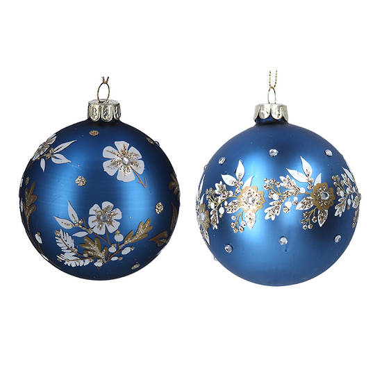 Glass Ball Matt Blue, White Flowers 8cm