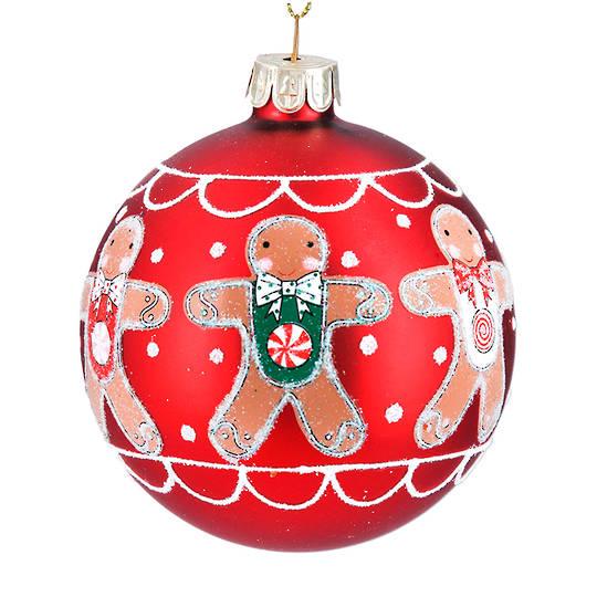 Glass Ball Red, Gingerbread Man 8cm