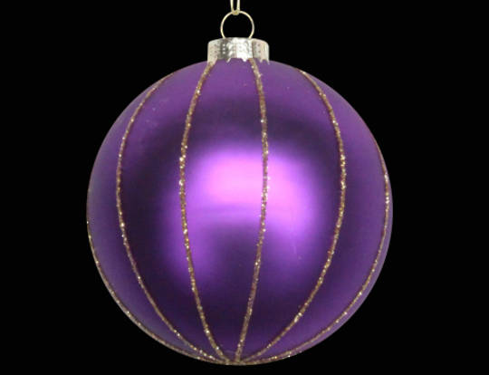 Glass Ball Matt Purple, Gold Glitter Stripes 8cm
