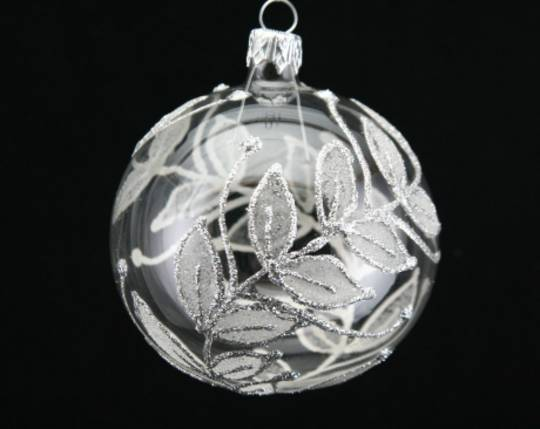 Glass Ball Clear, Silver Leaves 8cm