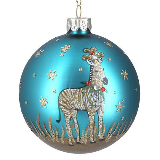 Glass Ball Matt Turquiose, Zebra 8cm