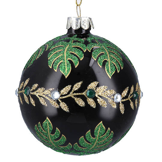 Glass Ball Gloss Black, Green Leaves 8cm
