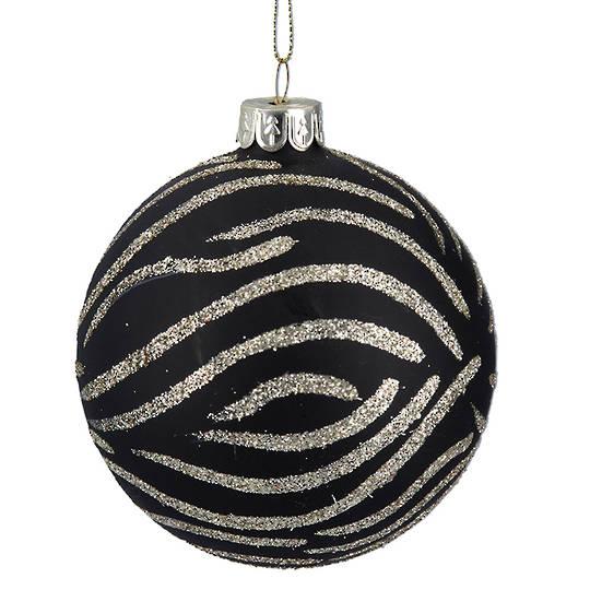 Glass Ball Matt Black, Zebra Print 8cm