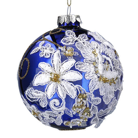 Glass Ball Blue, White Fabric Flowers 10cm