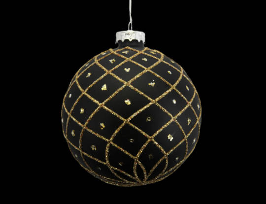 Glass Ball Matt Black, Gold Trellis 8cm