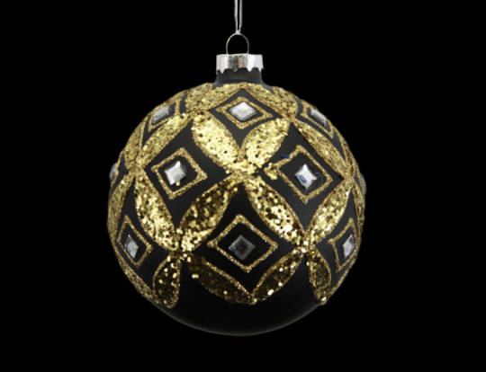 Glass Ball Matt Black, Gold Diamonds 8cm