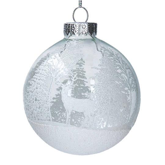 Glass Ball Clear, Deer & Forest 8cm