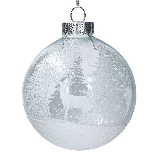 Glass Ball Clear, Deer & Forest 8cm