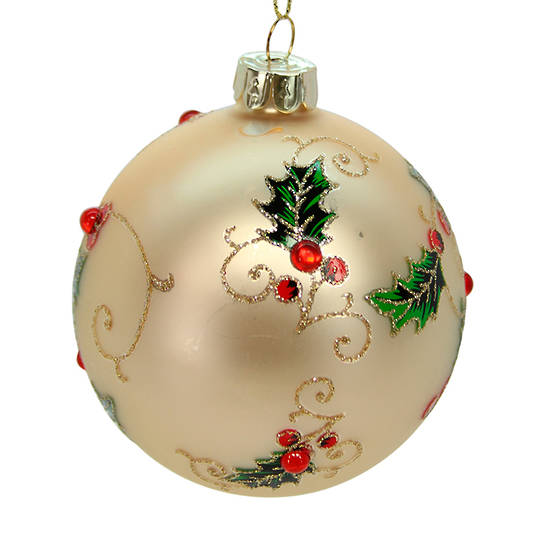 Glass Ball Gold, Holly with Red Gems 8cm