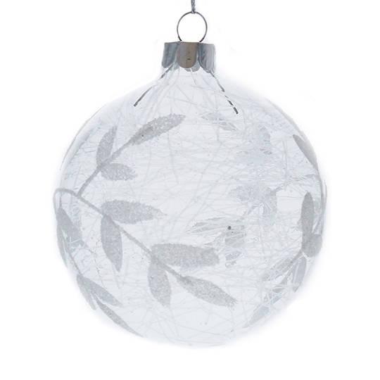 Glass Ball Clear, Silver Leaves & Shreads Inside 8cm