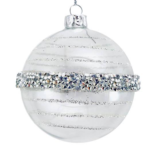 Glass Ball Clear, Silver Bead Orbit 8cm