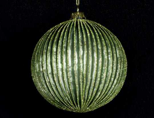 Glass Ball Matt Green, Thin Rib 10cm