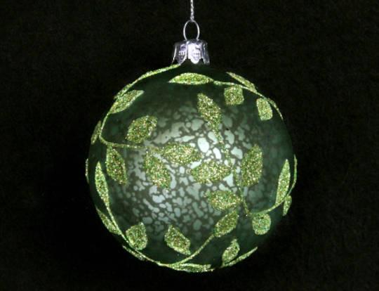 Glass Ball Matt Green, Beaded Leaves 8cm