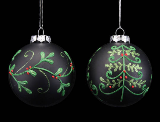 Glass Ball Black, Xmas Tree 8cm