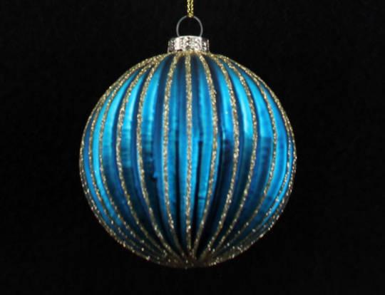 Glass Ball Peacock, Thin Rib 8cm