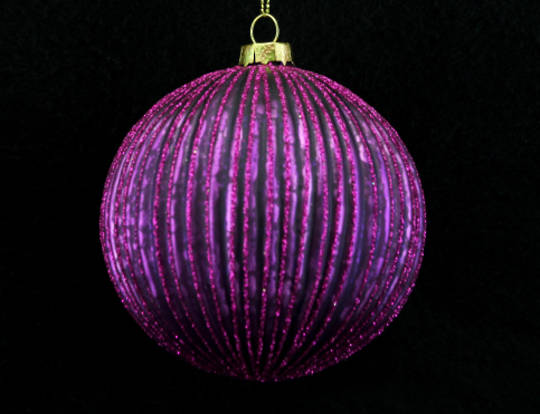 Glass Ball Fuchsia, Thin Rib 10cm