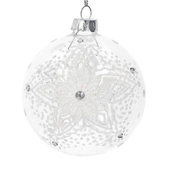 Glass Ball Clear, Lace Snowflake 8cm