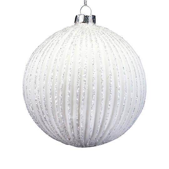 Glass Ball Matt White, Glittered Ribbed 8cm