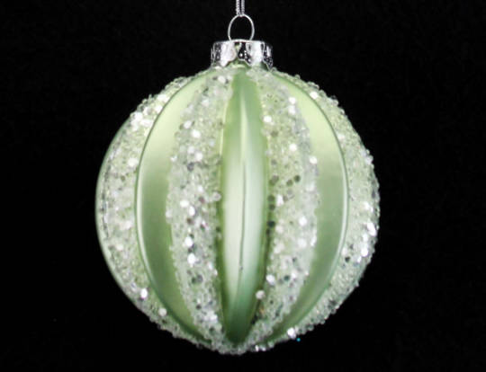 Glass Ball Pale Green, Thick Rib 8cm
