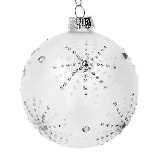 Glass Ball White, Silver Star Burst 8cm