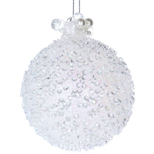 GlassBall White, Glass Beads 8cm