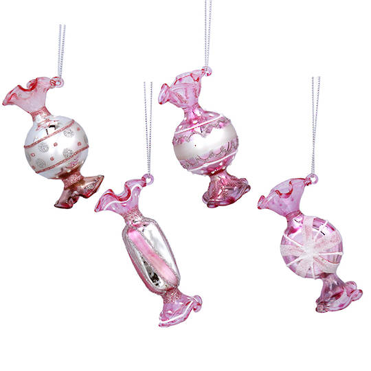 Glass Pink Sweets 8x4cm