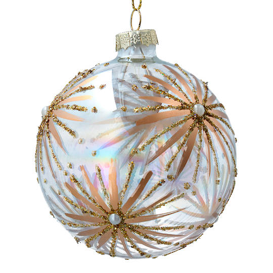 Glass Ball Iridescent, Gold Starbursts 8cm