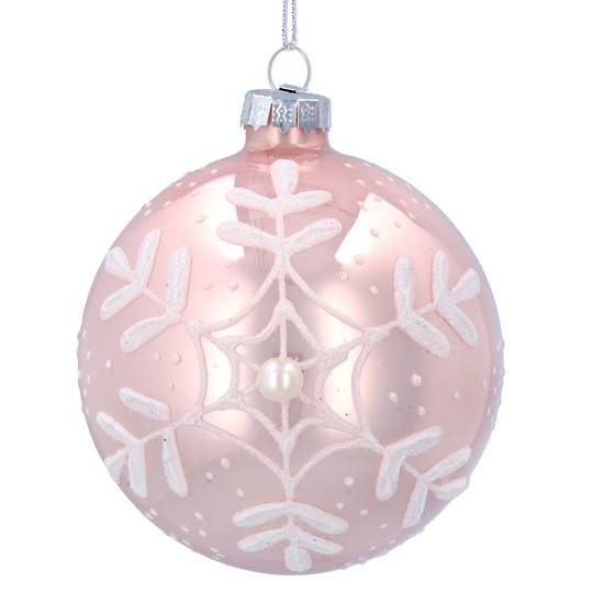 GlassBall Matt Pink, White Snowflake 8cm