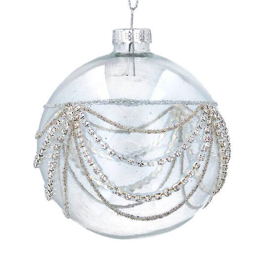 Glass Ball Clear, Silver Diamond Swags 8cm
